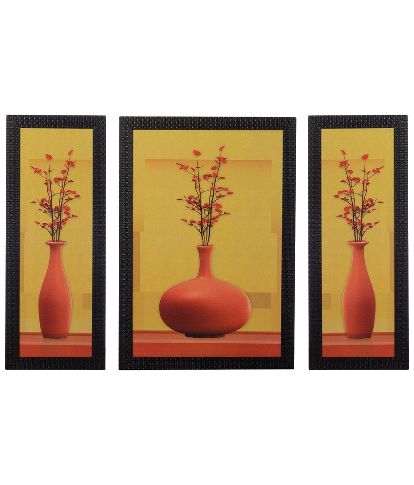 eCraftIndia Pack of 3 Yellow & Peach Floral Pots Satin Framed UV Art Print Paintings