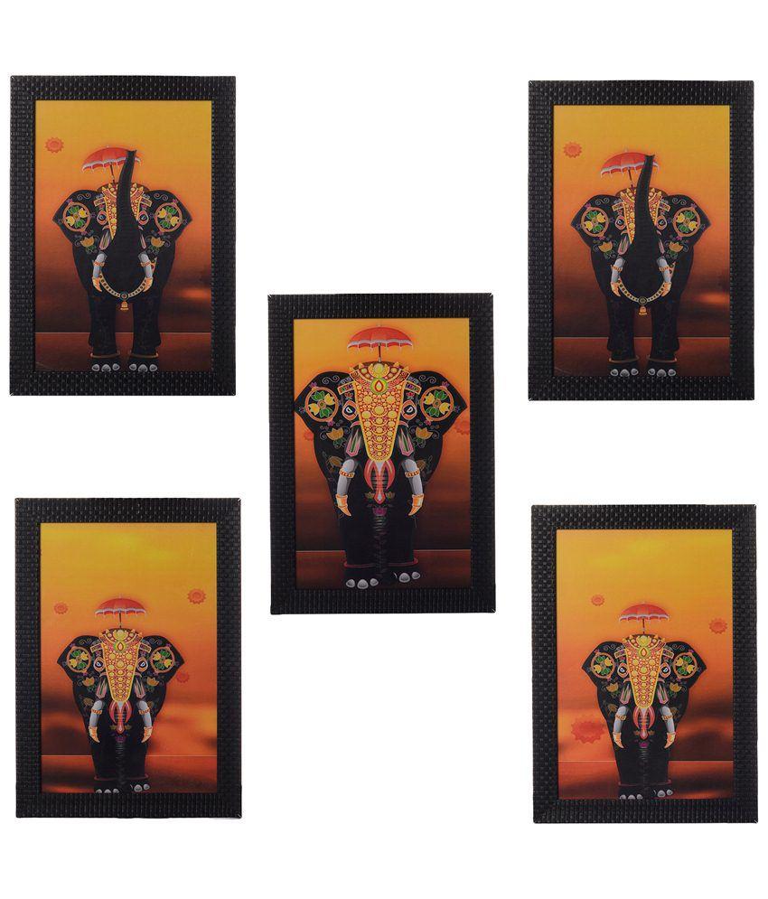 eCraftIndia Pack of 5 Multicoloured Elephant Variants Satin Framed UV Art Print Paintings