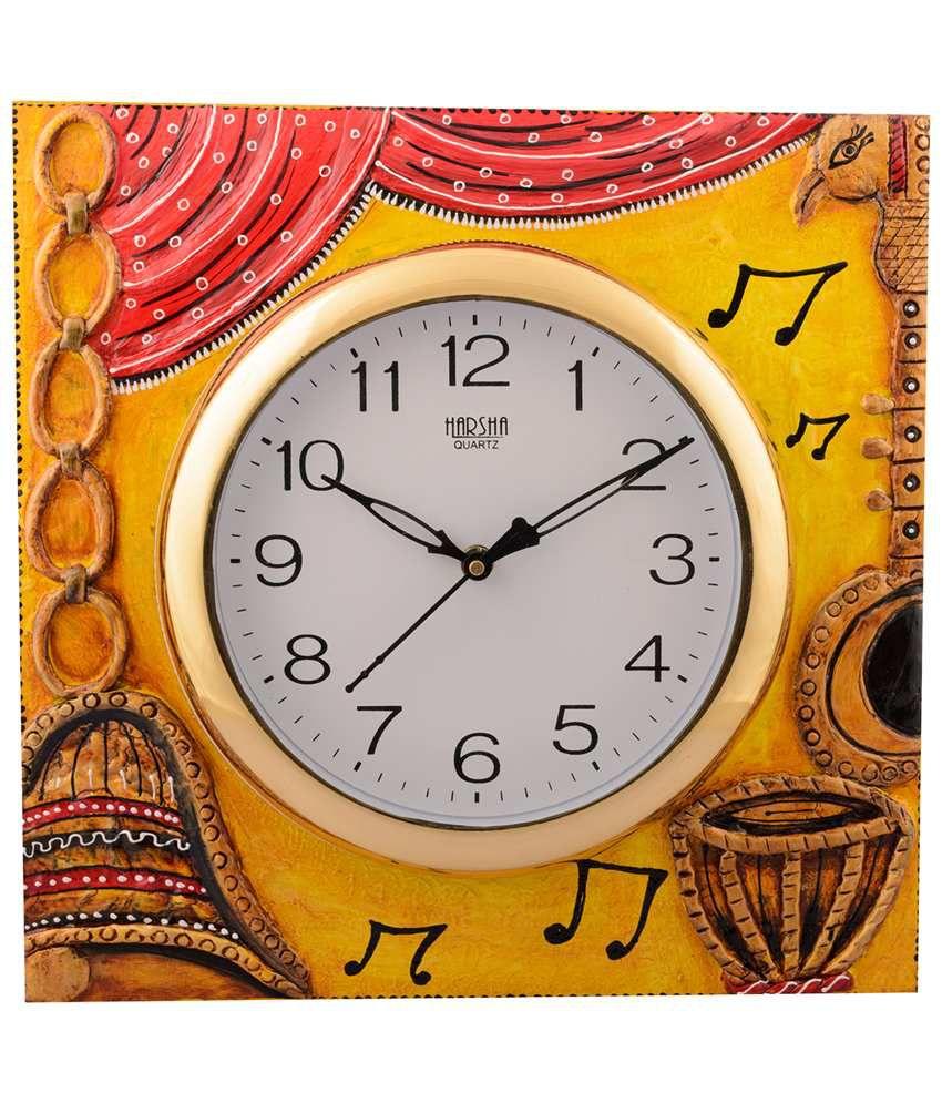 eCraftIndia Yellow & Brown Wooden Musical Instrument Wall Clock