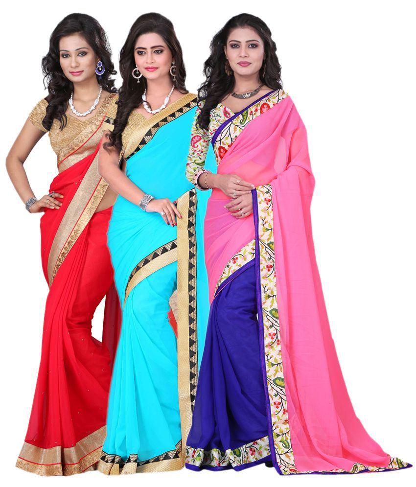 Aai Shree Khodiyar Art Multicoloured Chiffon Saree Combos