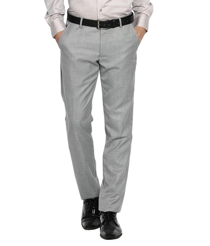 Black Coffee Grey Regular Fit Formal Trousers