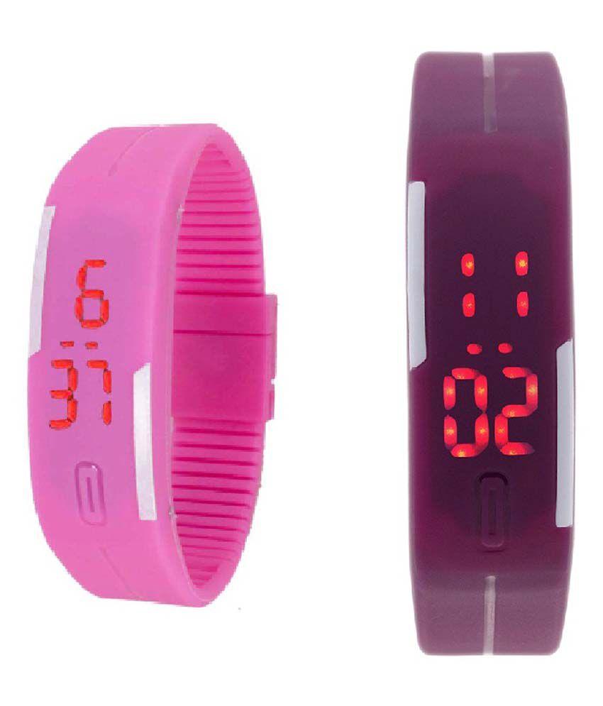 Lime Pink & Purple Digital Kids Wrist Watch