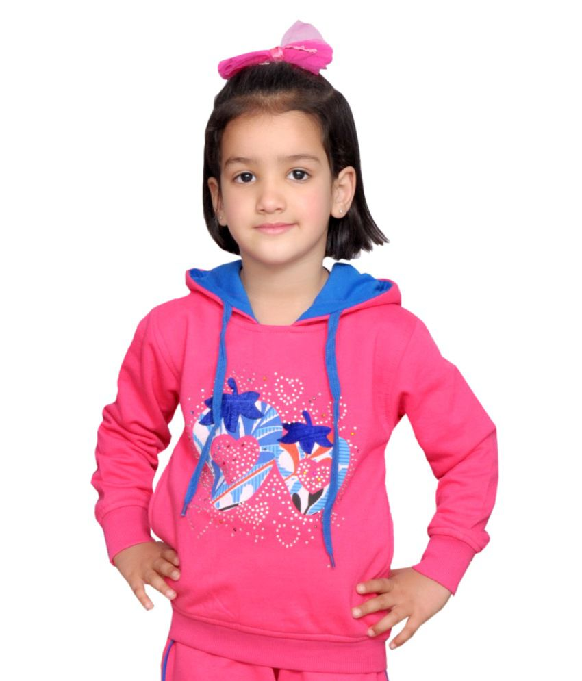 Shaun Pink Woolen Sweatshirt With Hood
