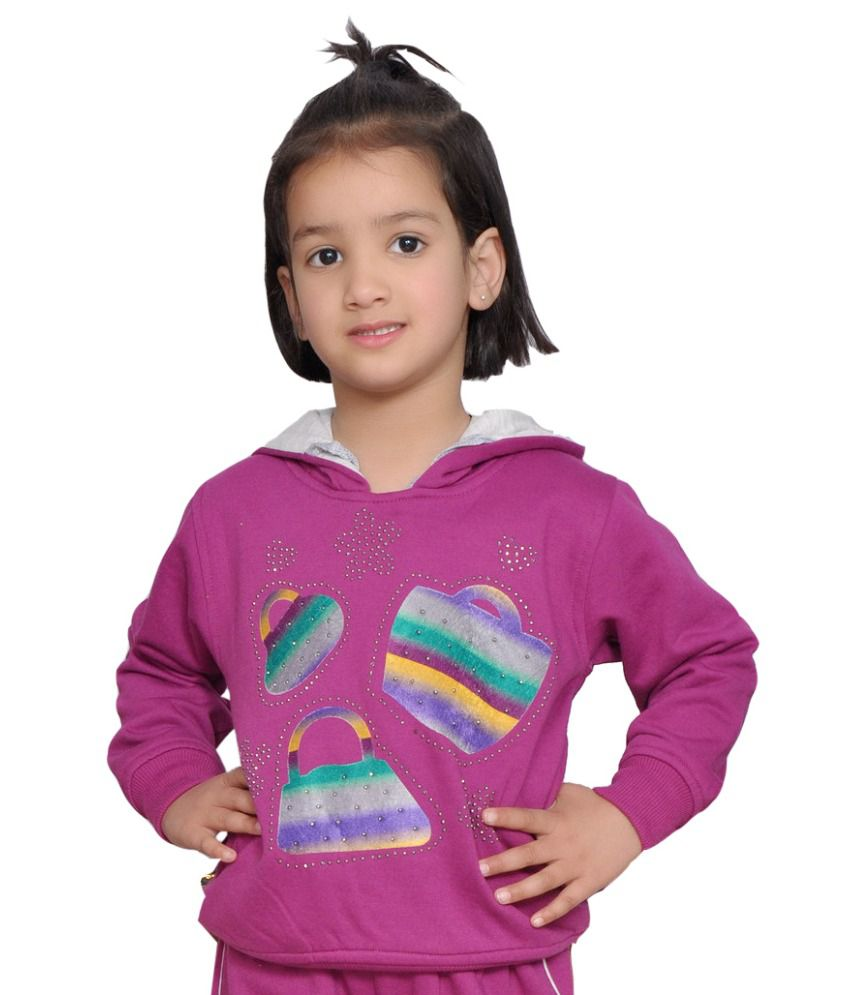 Shaun Purple Woolen Sweatshirt With Hood