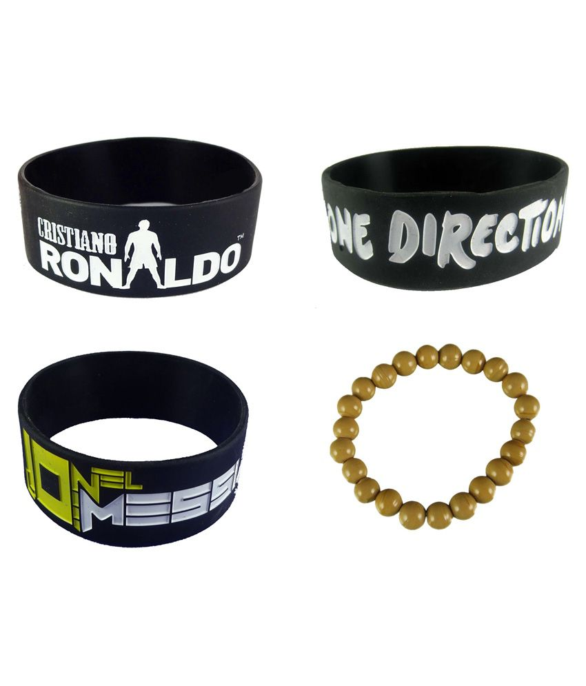 Eshoppee Ronaldo one Direction Lionel Messi  Brown Glass Beaded Silicone Wrist Band For Man and Women Pack of 4 Wristband Bracelet