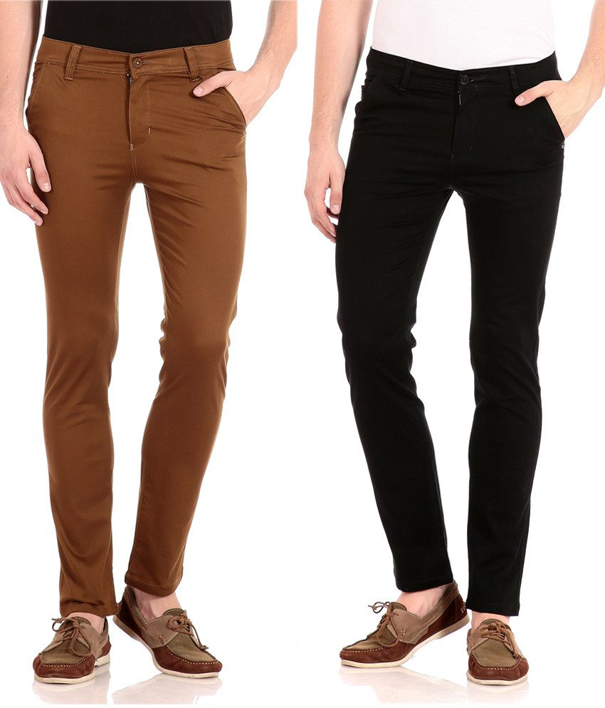 FlYJohn Black and Brown Slim Fit Casual Chinos - Pack Of 2