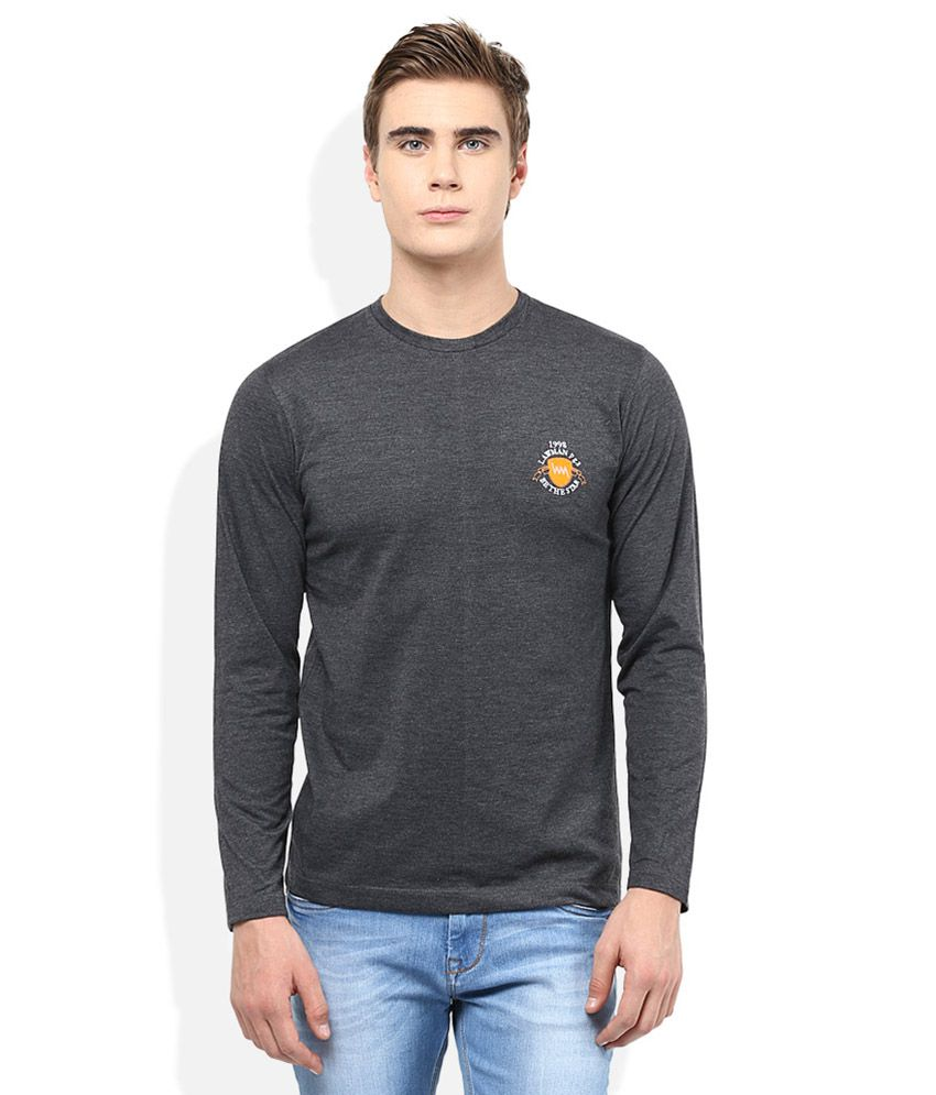 Lawman Pg3 Grey Solid Round Neck T Shirt