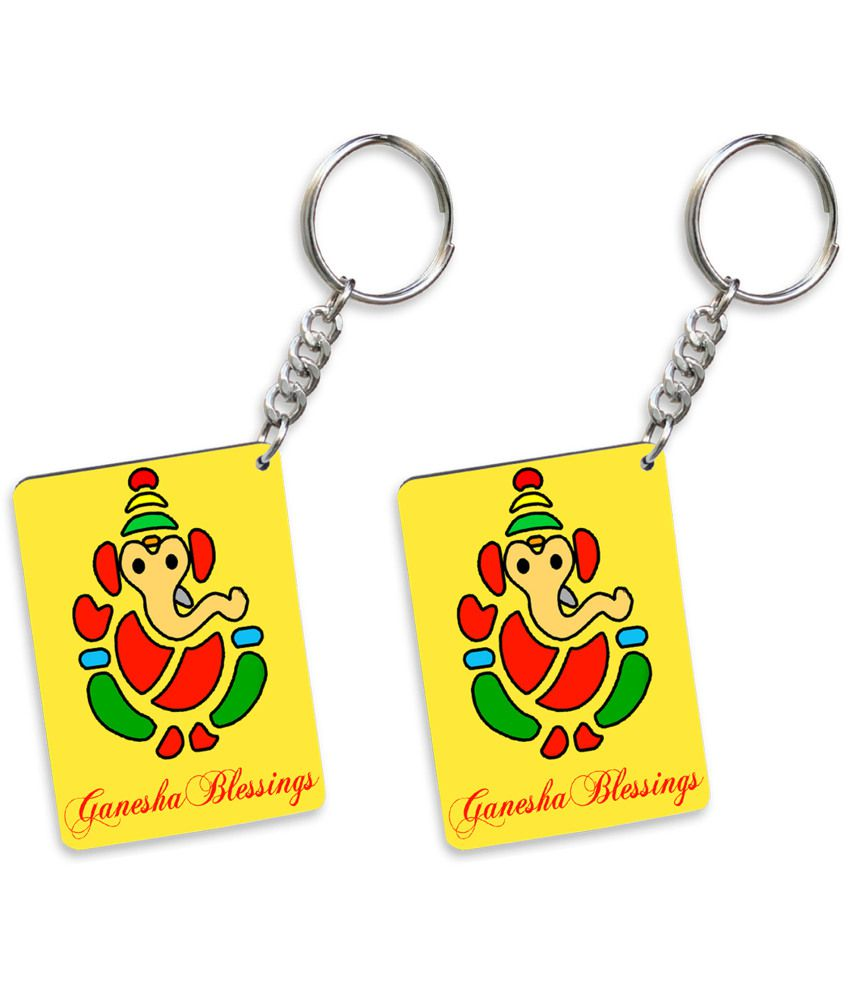 Tiedribbons Yellow Key Chain - Set Of 2
