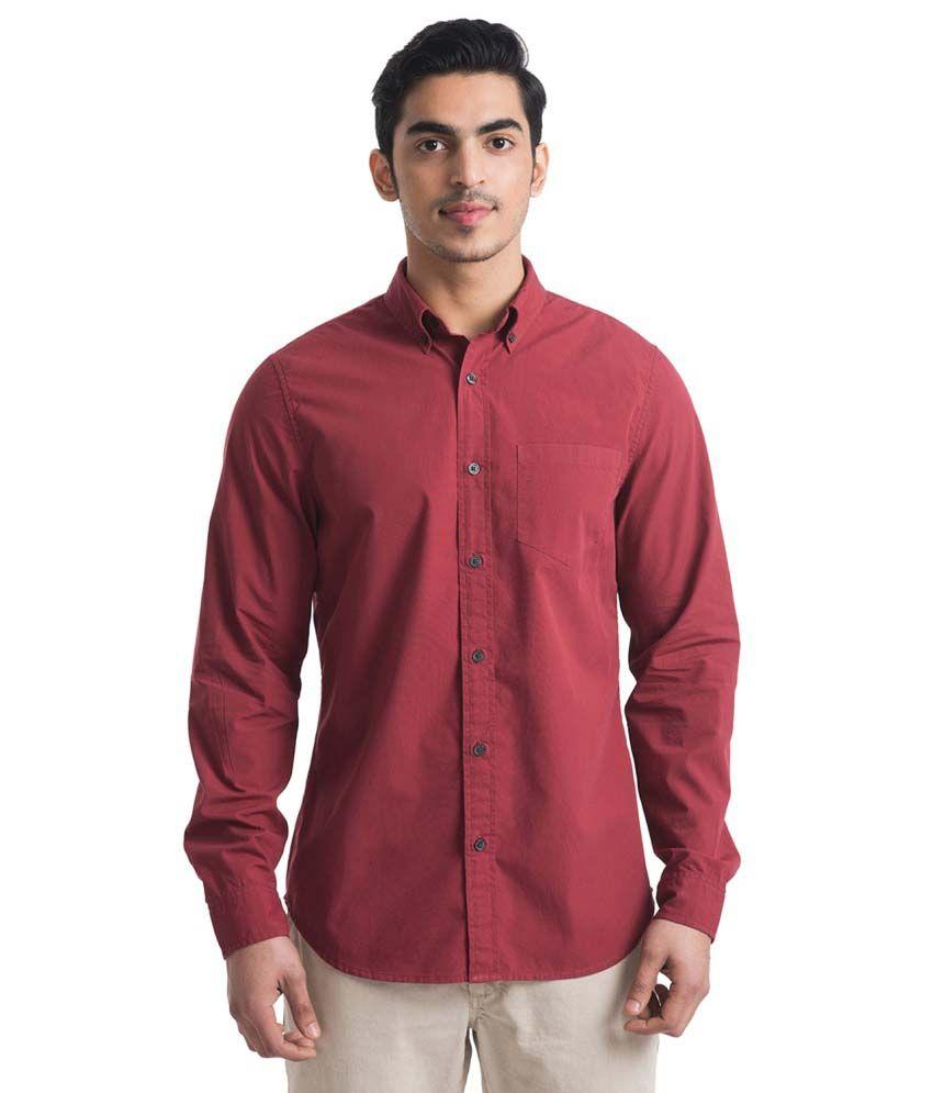Bhane Maroon Casual Shirt