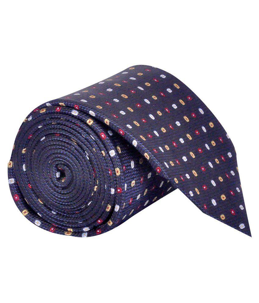 Posto Elite Neckties Navy Blue Geometrical Broad Tie