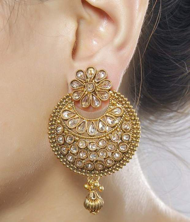 Much More Indian Bollywood Gold Plated Peach Color Polki Earring For Women Wedding Jewelry