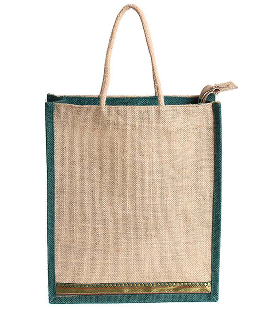 Craftycon Green Jute Lunch Bag