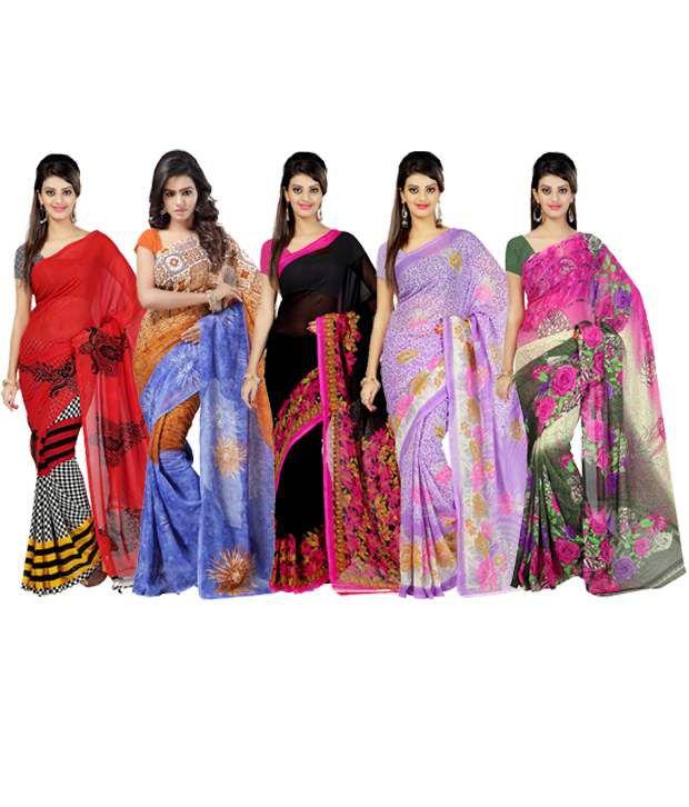 Ambaji Combo of Multicoloured Dani Georgette Sarees (Pack of 5)