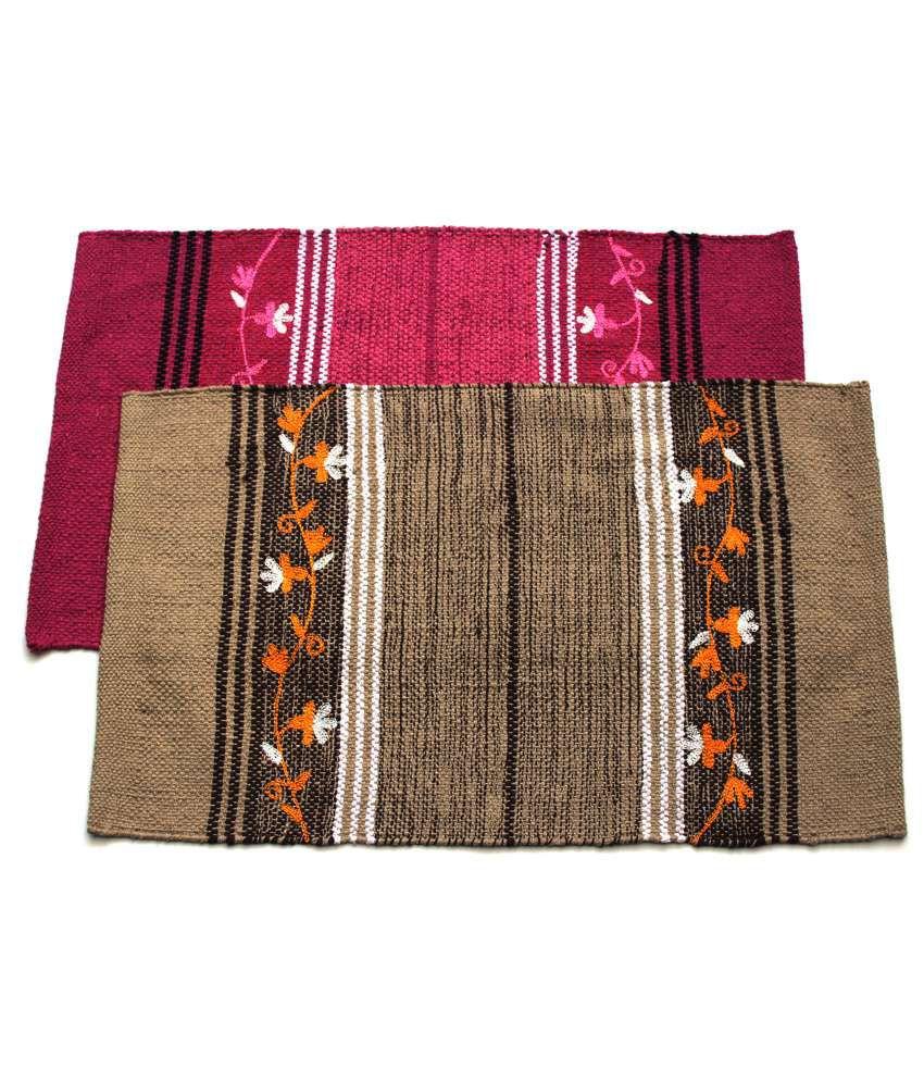 Home Gallery Beige & Pink Cotton Handmade Floor Mat (Buy 1 Get 1)