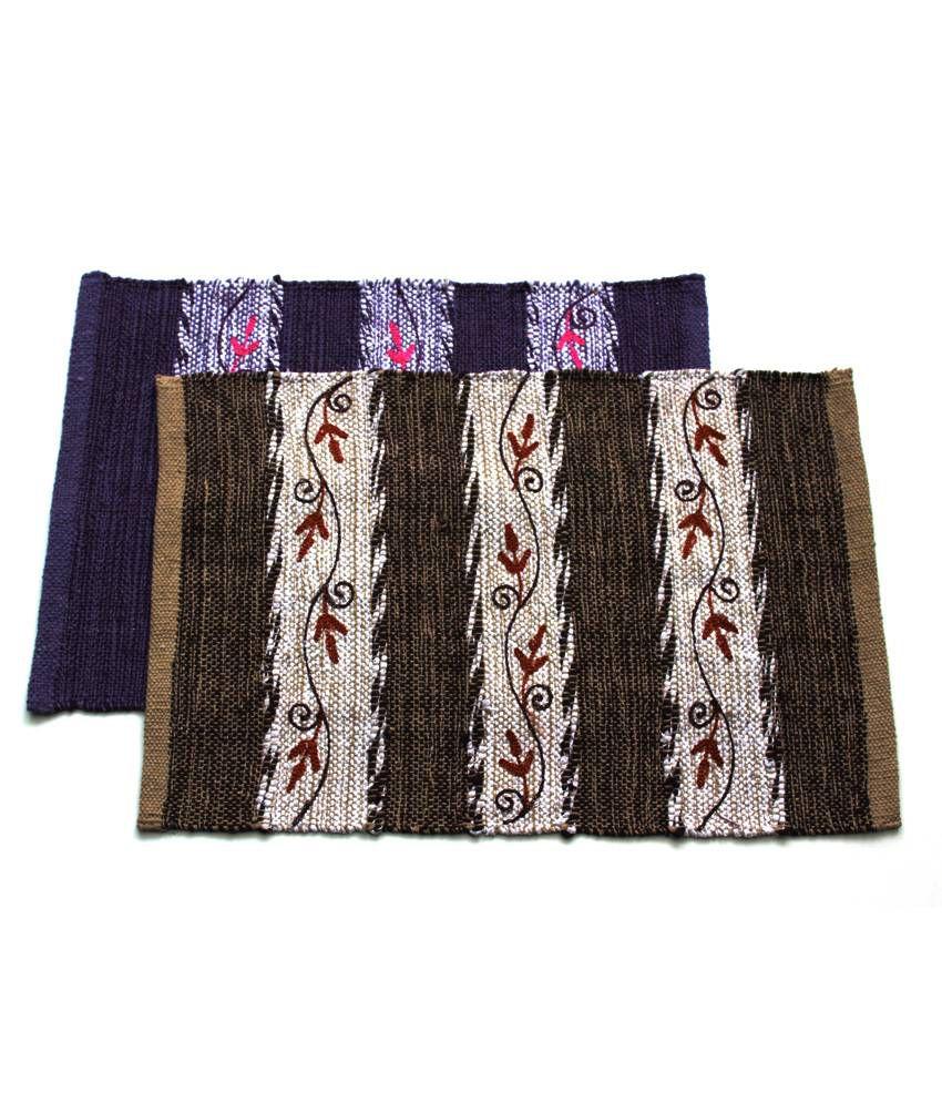 Home Gallery Beige & Purple Cotton Handmade Floor Mat (Buy 1 Get 1)
