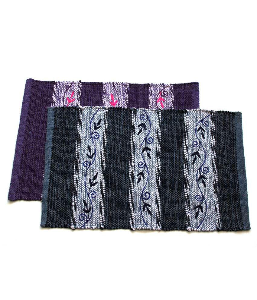 Home Gallery Black & Purple Cotton Handmade Floor Mat (Buy 1 Get 1)
