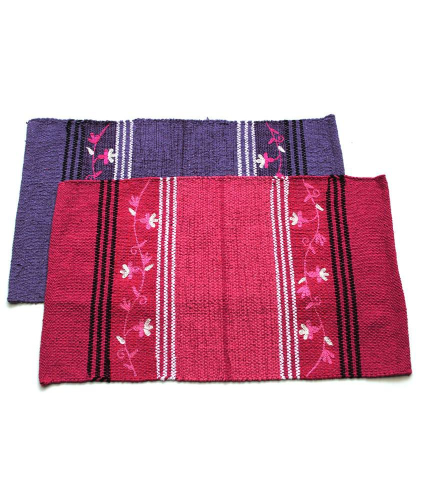 Home Gallery Pink & Purple Cotton Handmade Floor Mat (Buy 1 Get 1)