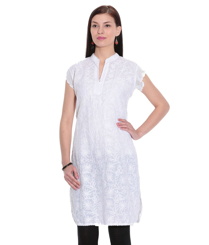 c4f66e177 Indian Handicraft Standards White Lucknowi Chikan Faux Georgette Hand Embroidered  Kurti - Buy Indian Handicraft Standards White Lucknowi Chikan Faux ...