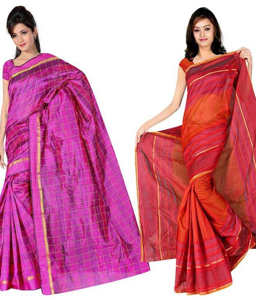 Indianefashion Pink & Red PollyCotton Pack of 2