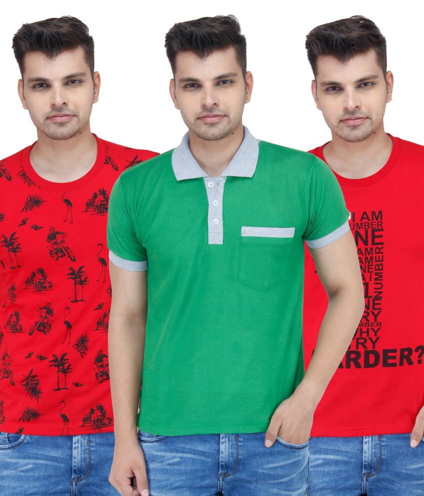 Stylogue Combo of Multi-coloured Cotton Blend T shirts