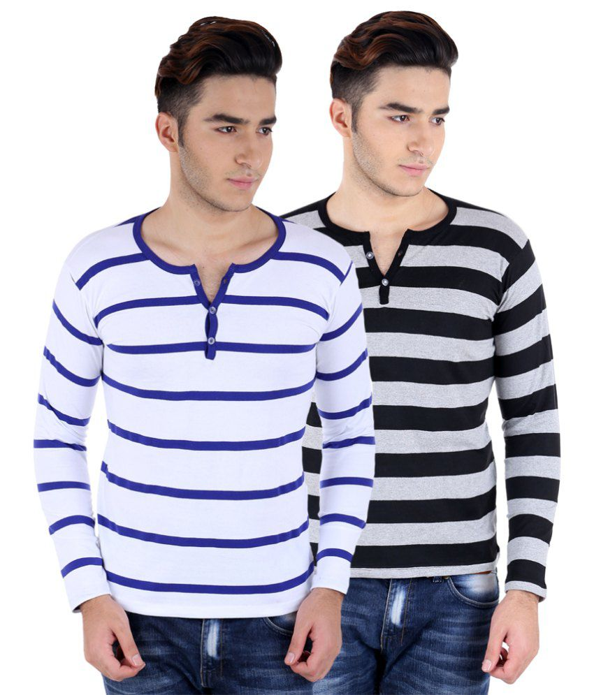 Big Idea Gry-Blk & Wht-R Blue Striped Henley T-shirts Pack Of 2