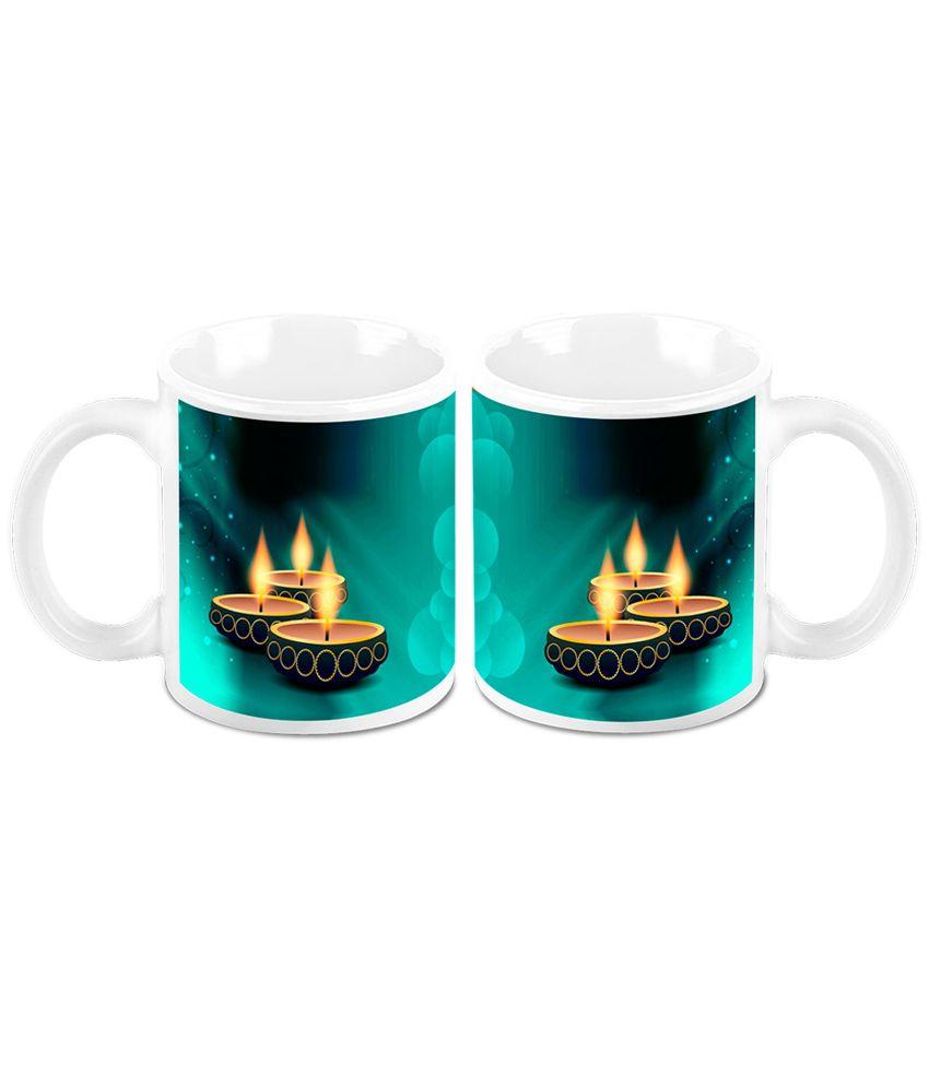 HomeSoGood Diwali Gifts For Diwali Glittering Deepak White Ceramic Coffee Mug - 325 ml (Set Of 2)