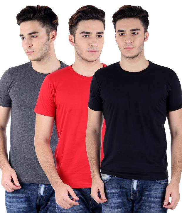 Perfect 10 Multicolour Cotton Blend T-Shirt Pack Of 3