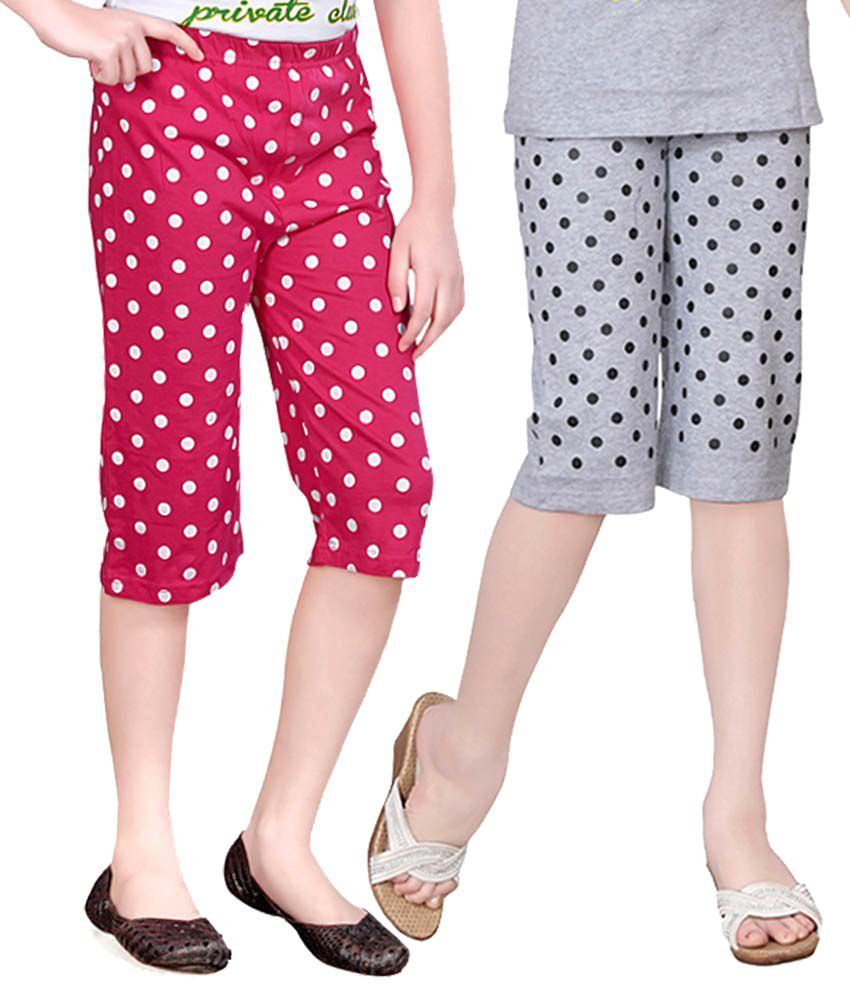 Sini Mini Multicolour Cotton Capris For Girls (Set Of 2)
