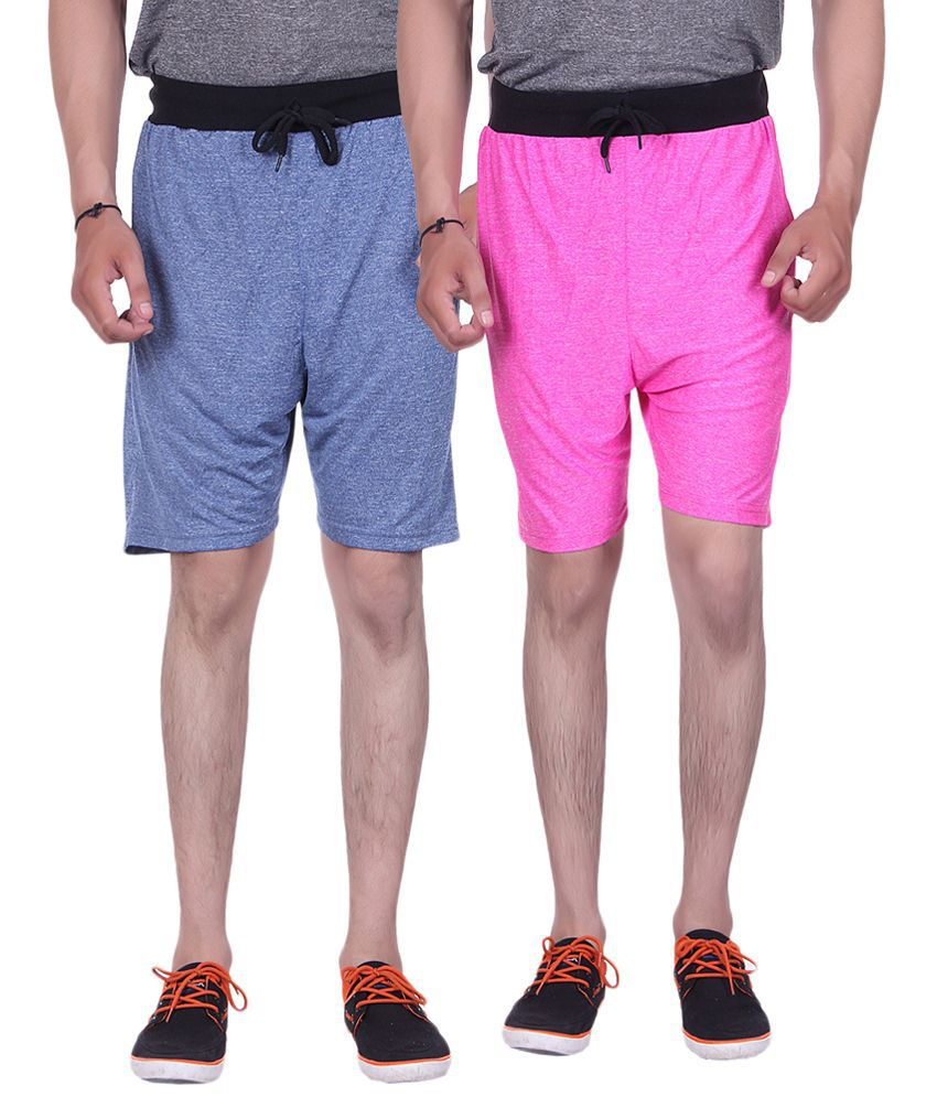 Gag Wear Pack of 2 Blue & Pink Solid Milang Shorts
