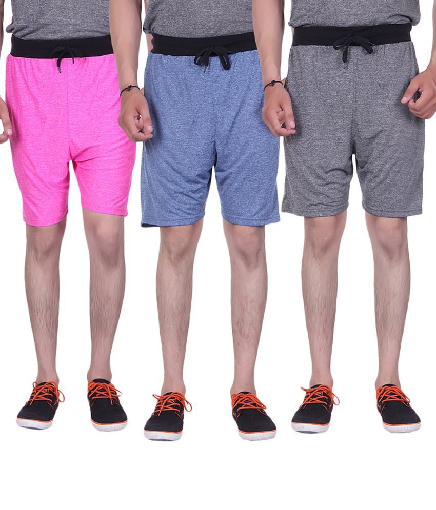 Gag Wear Pack Of 3 Pink, Blue & Gray Solid Milang Shorts