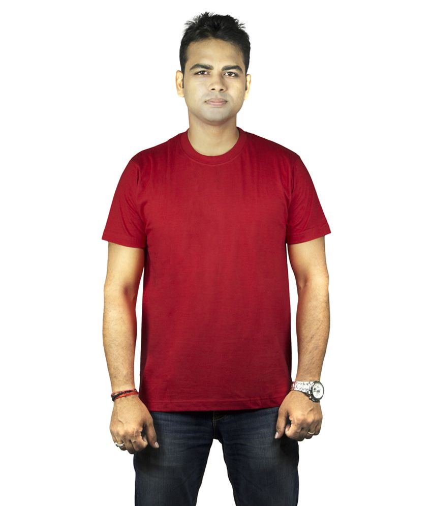 Krishna Devi Traders LLP Red Cotton Blend T-Shirt