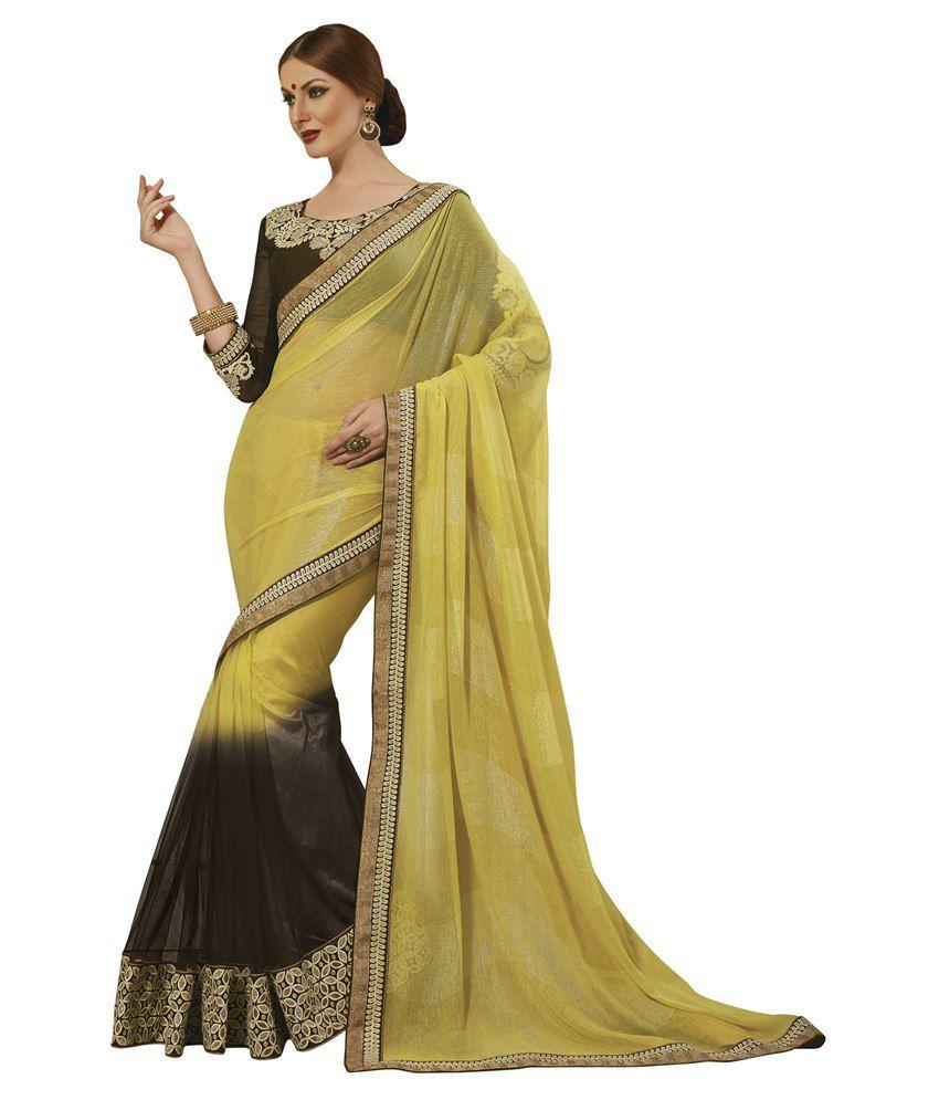 071da5bfa Subhash sarees sh-22117 Yellow Faux Chiffon Saree - Best Price in ...