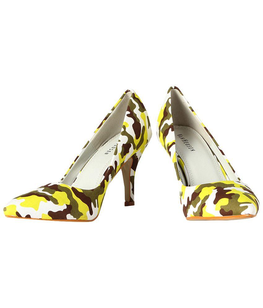 Van Heusen Yellow & Brown Camouflage Print Heeled Slip Ons