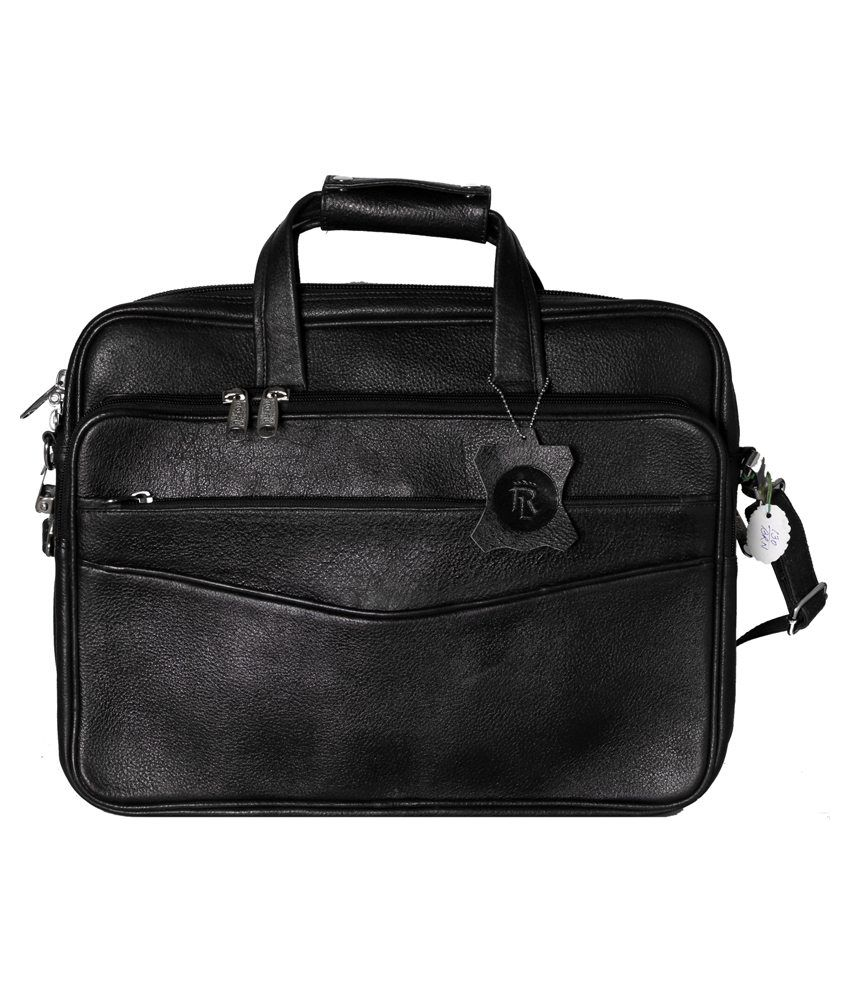 RLE Black Leather Office Bag