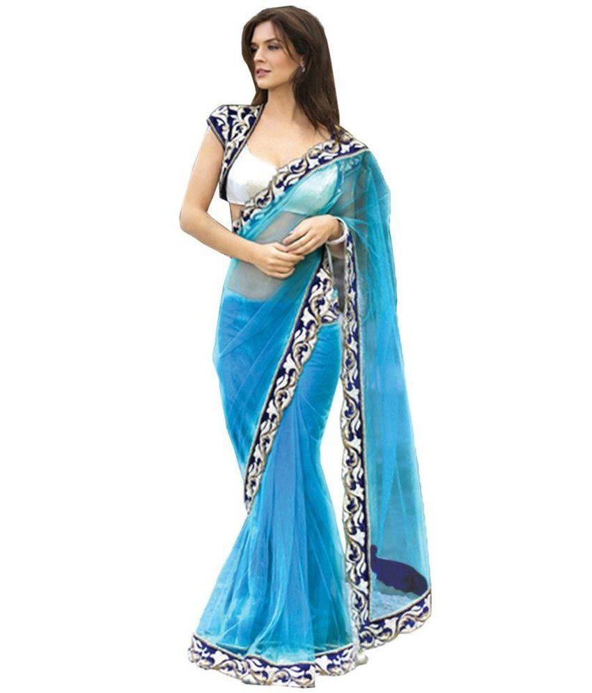 Silons Designer Blue Net Saree Buy