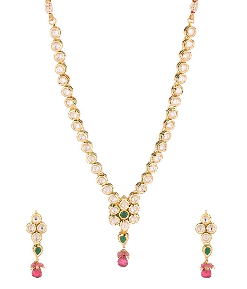 Voylla Captivating Yellow Gold Toned Crystal Studded Necklace Set