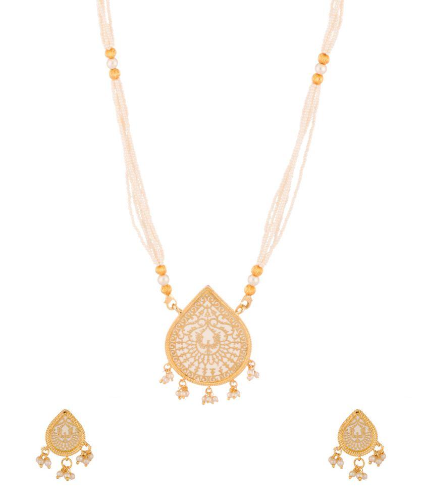 Voylla Marvelous Yellow Gold Toned Adjustable Necklace Set