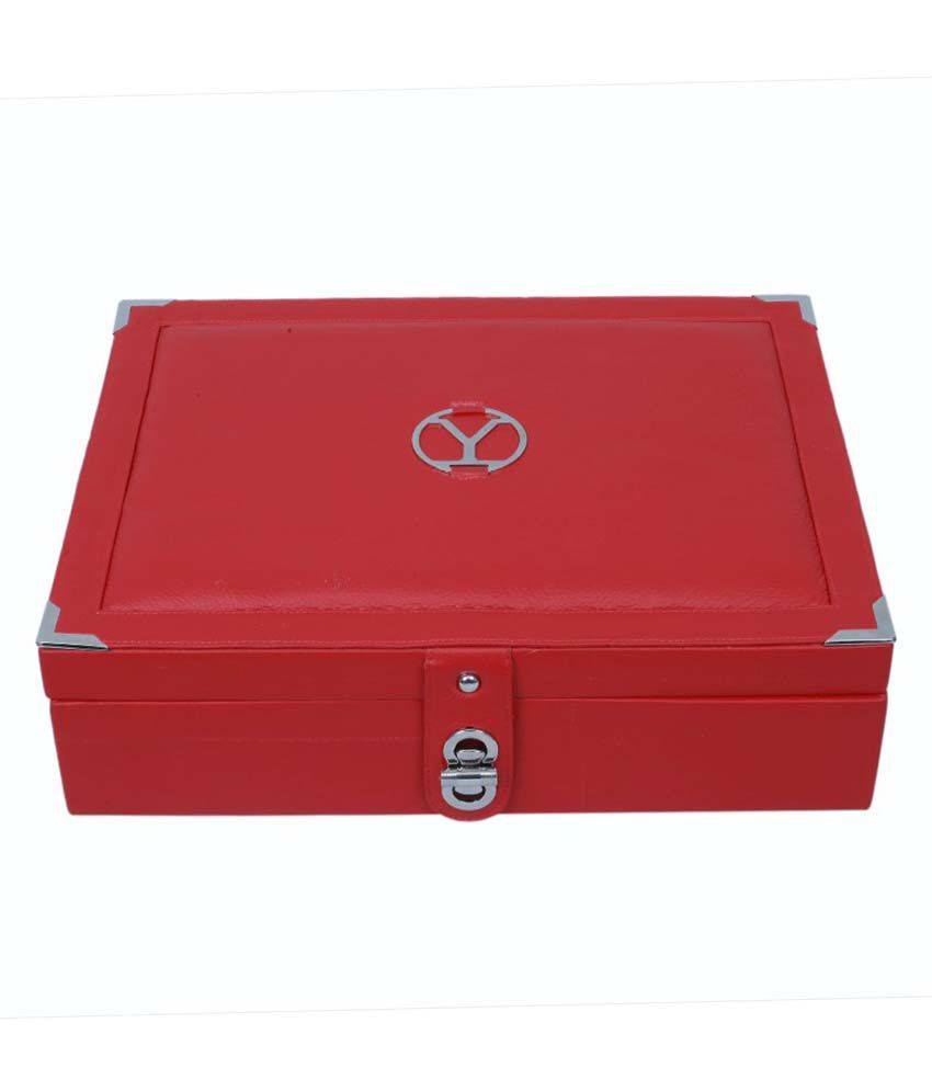 Ystore Genuine Leather Large Jewellery Box - Red