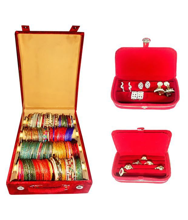 Atorakushon Combo Deal 4 Roll Rod Bangles Box 1 Earring Box Ring 1 Ring Box Jewelry Case