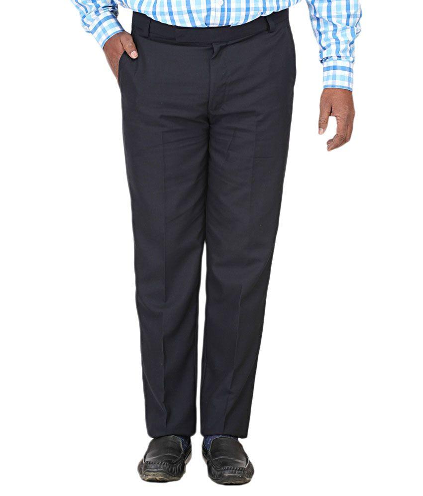 Dmark Black Regular Fit Formal Pleated Trouser