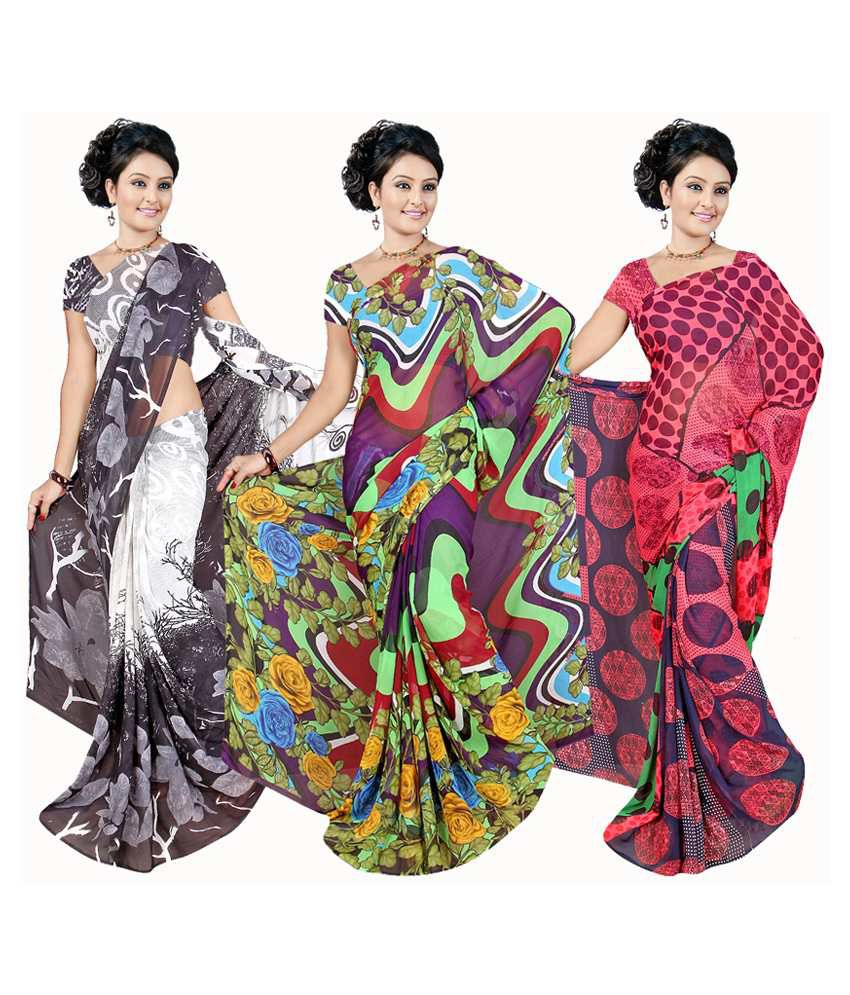 Garg Fashion Multicolour Weightless Georgette Pack of 3