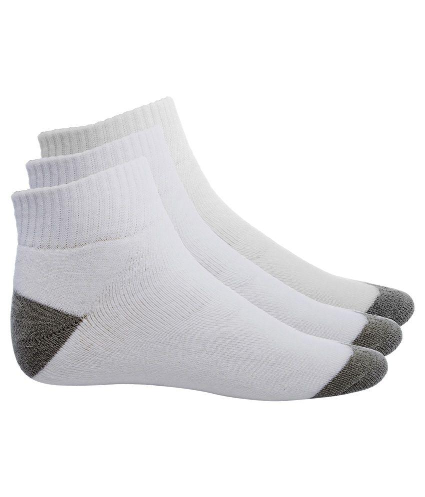 Simon Men's White & Gray Cotton Ankle Length Socks - 3 Pair Pack