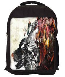 Snoogg Black and Brown Nylon Laptop Backpack