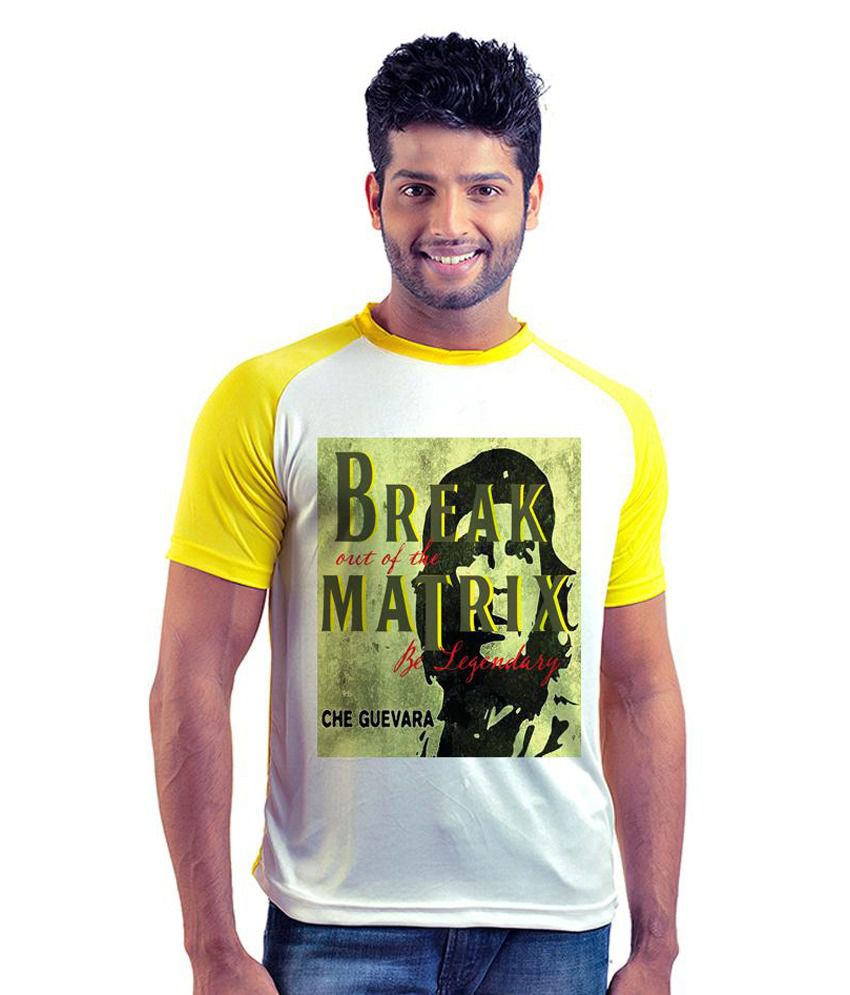 6th Cross White and Yellow Polyester Half Sleeves T Shirt