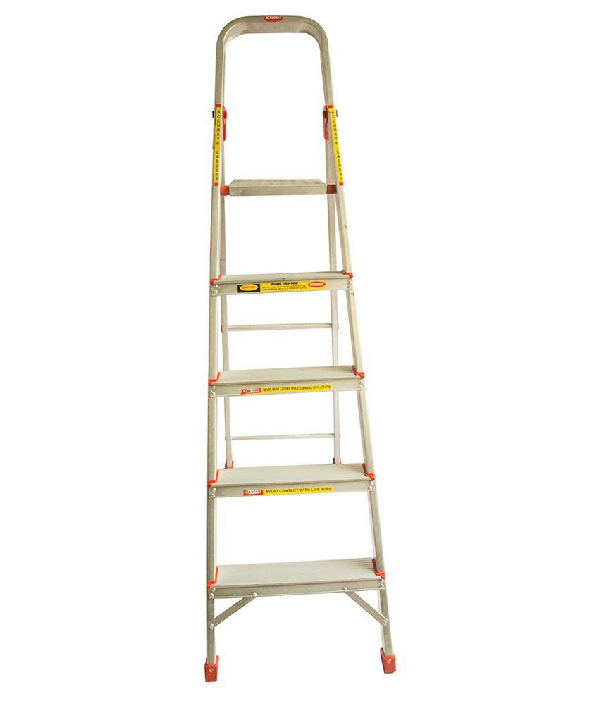 Accurate Off-White Aluminium 4 Steps Ladder With Platform
