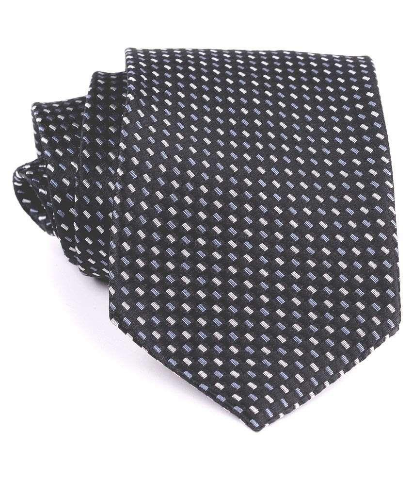 Aeht 1010-462 Black With White Box Design Necktie