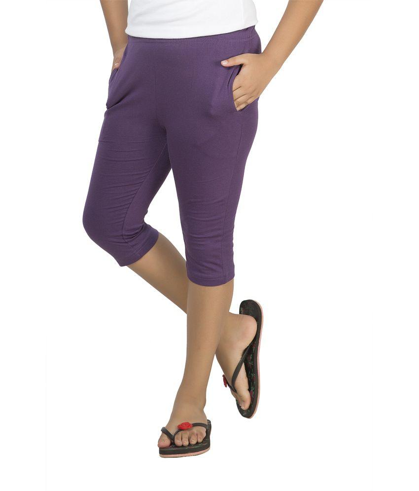 Clifton Purple Cotton Capri