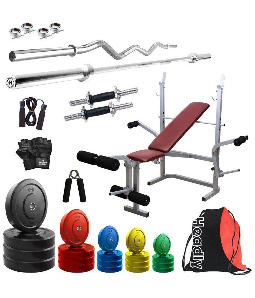 Headly Premium 90kg Coloured Home Gym 14 Dumbbells 2 Rods