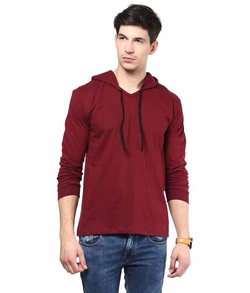 IZINC Maroon Cotton Hooded T-shirt