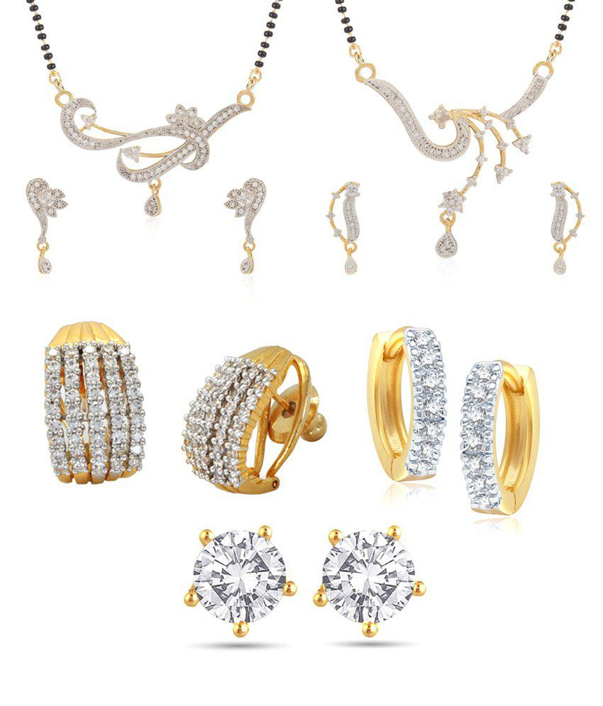 Jewels Galaxy Special Collection Of 2 Imperial Ad Mangalsutra Set, 3 Earrings - Combo Of 5